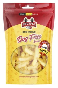 Snuffle dog fries salmon